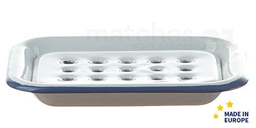 matches21 Email Seifenunterlage rechteckig / Retro Emaille Seifenschale zum Stellen weiß 13 x 10 x 2 cm