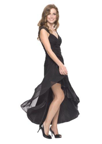 Astrapahl Damen Cocktail Kleid mit schönen Raffungen, Knielang Schwarz (Schwarz)