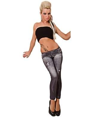Waooh - Mode - Leggings hiver - Imprimé jean noir délavé