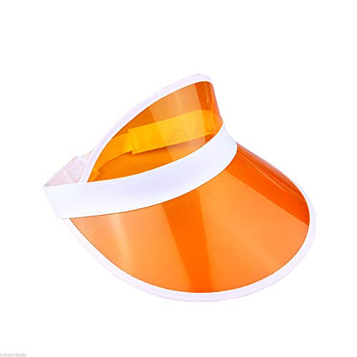 LIUUUM Sonne Visier Hüte UV Schutz Frauen Männer Sommer Hut Transparent Leere Top Kunststoff PVC Sun Cap für Wandern Camping, ORANGE