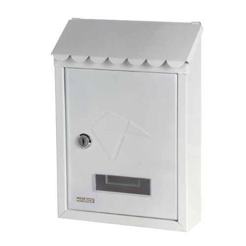 Maurer - cassetta postale in acciaio verniciato bianco con tetto stamp