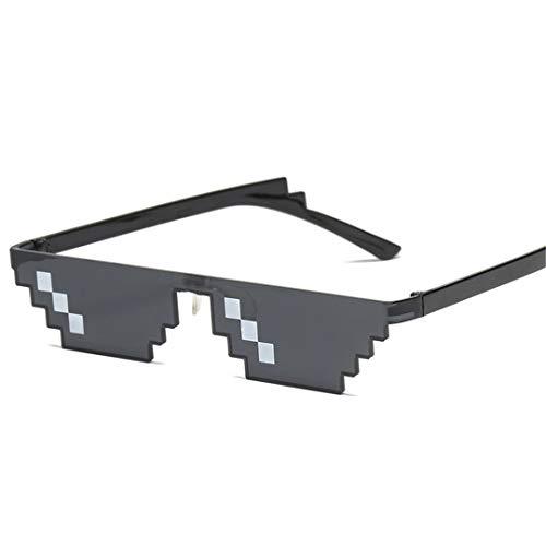 DAIYSNAFDN Zwei Dimensionen Mosaik Sonnenbrille Frauen Vintage Kleine Rahmen Brille Dame Retro Metall Sonnenbrille Black 1