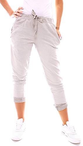 Easy Young Fashion Damen Sweat Jersey Sport Relax Hose Sweatpants  Jogginghose Joggpants Jogger Lang Baumwolle Einfarbig Pailletten Hellgrau M  38 (L) eb1f07197f