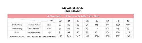 Micbridal® corto abito da ballo tulle pizzo vestito da bambina Floreale per donna e ragazza Champagne