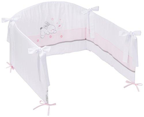 Easy Baby 820-38 Tour de lit avec broderie de qualité motif Rabbit, Env. 210 cm de long, rose