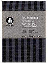 Hometrends Grau Schwarz Gestreift Tischdecke, Vinyl, PEVA Flanell Rückseite 60 x 84 Rectangle Grey, Gray, Black