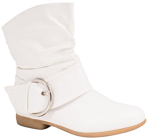 Elara Damen Schlupf Stiefel | Gefütterte Schnallen Boots | Bequeme Stiefeletten Weiss-