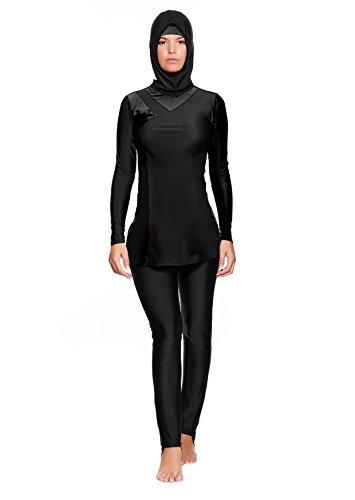 Versandhandel Henry Musch-Malinowski 4 TLG. Muslimischer Vollkörper Badeanzug Burkini/Islamische Badebekleidung Tesettür mit Hijab f5442 Farbe: Schwarz BU2(sw), Gr. 36 (S)