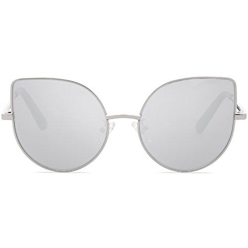 SOJOS Kids Kinder Schick Katzenaugen Rund Sonnenbrille UV Schützen Verspiegelt Linse für Mädchen SK101 mit Silber Rahmen/Voll Silber Linse