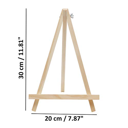 Artists Wooden Easel Set 30cm (12 Pack) - Tabletop Tripod Easels to Display an Art Canvas - Adjustable Screw Fastener Folds up for Easy Storage for Artists Drawing, Watercolour & Acrylic Painting