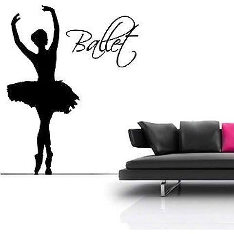 Dance Life 1,37 Meters-Grande decorazione da parete a forma di ballerina con decalcomania di rotazione, viola, Large - 104cm W x 133cm