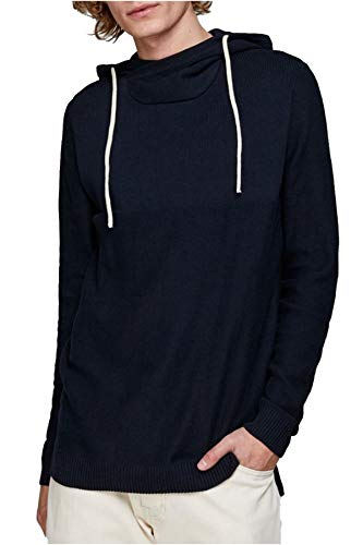 JACK & JONES Herren Kapuzenpullover JORERIS Knit Hood STS, Blau(Total EclipseTotal Eclipse), Medium