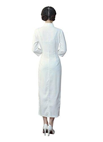 ACVIP Damen Sieben Punkten Ärmel Srehtkragen Bambus Muster Lang Cheongsam  Weiß ...