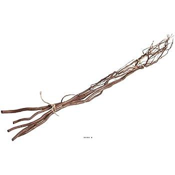 Artificielles - Saule tortueux naturel en botte x 5 branches bois lave chocolat 100cm - couleur: chocolat
