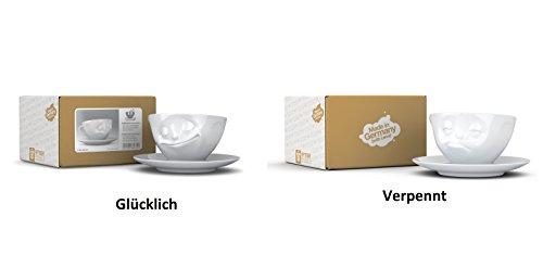 FIFTYEIGHT PRODUCTS 2X Fiftyeight TV Tassen Kaffee Tasse Weiss mit Untertasse 'Glücklich +...