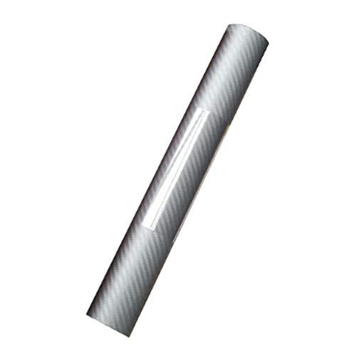 Gazechimp Premium - Auto Folie - 3D Carbon Folie Aufkleber - blasenfrei mit Luftkanälen - Silber, 127 x 30 cm