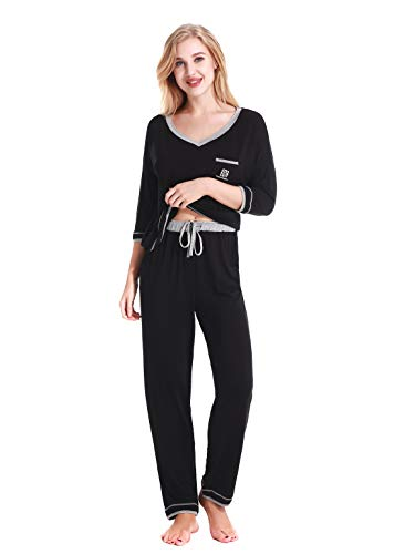 NORA TWIPS Langer 2-teilig Damen-Pyjama Schlafanzug Nachtwäsche Lounge Wear, Warmer Weicher Langarm Schlafanzüge PJ Für Frauen(MEHRWEG) -