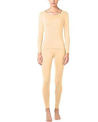 LAPASA Donna Set Termico - Ti Tiene al Caldo Senza Stress- T-Shirt Maniche Lunghe & Pantaloni Invernali Ultra Leggero L17 (XS(Seno 76-82 cm/Vita 58-62 cm), Beige)