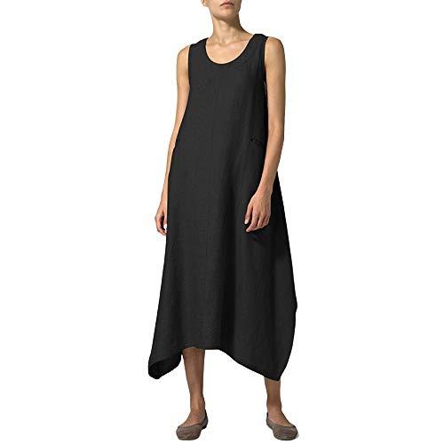 FeiXing158 Weinlese-Kleid-Sommer 2019 reizvolle ärmellose O Ansatz unregelmäßige beiläufige lose Maxi Lange Kleider elegant -