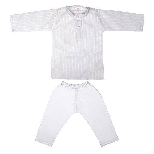 Littly Baby Boy's Ethnic Wear Cotton White Self Kurta Pyjama