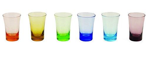 Villa d'Este One Shot Set de 6 vasos de chupito de cristal, multicolor