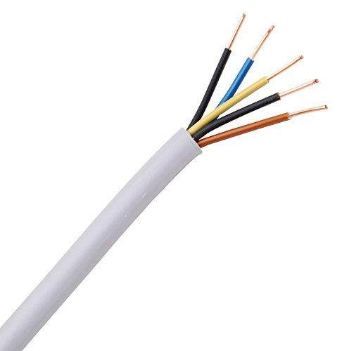 Kopp Mantel-Leitung 5 adrig, NYM-J 5x1.5 mm² (10m) Strom-Kabel für feste Verlegung, 300V/500V, elektrische Leitung für Feuchtraum, grau, 153010840