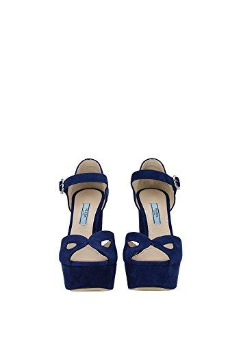 1XP732NAVY Prada Sandale Femme Chamois Bleu Bleu