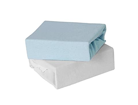 Baby Elegance Travel Cot Fitted Sheet (Pack of 2, Blue)