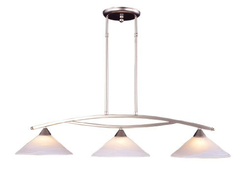 Elk 6502/3 3-Light Island Light In Satin Nickel and Tea Swirl Glass by Elk - Nickel Island Light