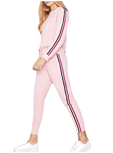 CuteRose Women Leisure 2 Stripes Tenths Pants 2-Piece Sport Tracksuit Pink XS