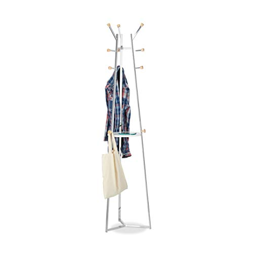 Relaxdays Garderobenständer Chrom, Jackenständer, Standgarderobe, Baum, 12 Haken, mit Ablage, HBT 181x42x42 cm, Silber