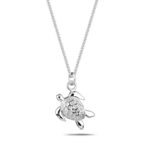 Elli Damen Schmuck Halskette Kette mit Anhänger Schildkröte Meer Tier Meerestier Silber 925 Länge 45 cm