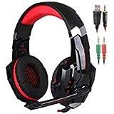 Senhai KOTION Each G9000 3,5-mm-Spiel-Spiel-Kopfhörer Ohrhörer Stirnband mit Mikrofon LED-Licht für Laptop Tablet Handys PS4 schwarz und rot
