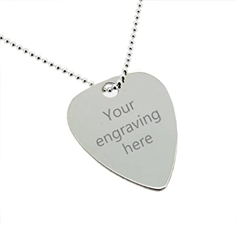 Personalised With Your Engraving 0.925 Sterling Silver Guitar Pick / Plectrum Rock N Roll Musical Pendant Necklace 30 x 25mm With 22