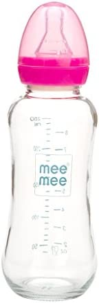 Mee Mee 240ml Premium Glass Feeding Bottle (Pink)
