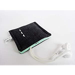Kopfhörertasche mit Druckknopf. Earplug, Earpod, Kopfhörer Tasche, kleines Etui, Bag, Täschchen. Kleines Geschenk. Schwarz-Mintgrün