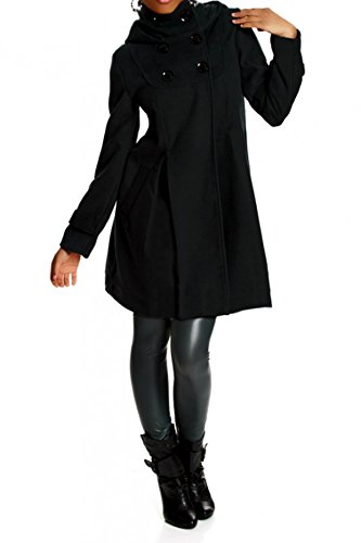 Laeticia Dreams Damen Mantel mit Kapuze Jacke XS S M L XL XXL, Farbe:Schwarz;Größe:38