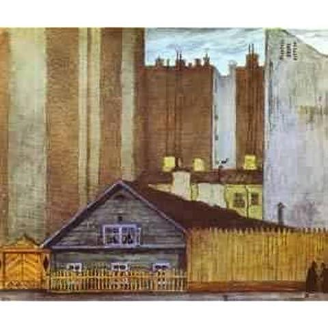 GFM Painting - Riproduzione fatta a mano di Pittura ad Olio. Soggetto:A Cottage In St Petersburg 1905,Pittura ad Olio di Mstislav Dobuzhinsky - 72 By 96 pollici