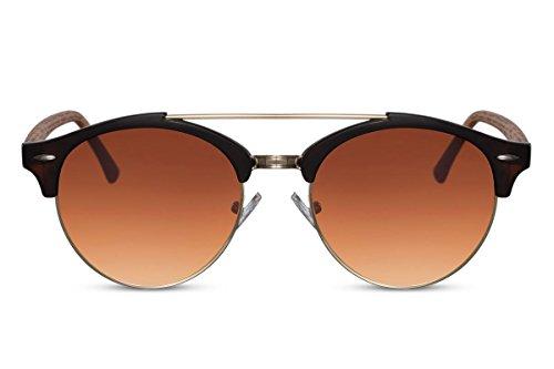 Cheapass Sonnenbrillen Rund Braun Holz-Optik UV-400 Retro-Brille Designer-Accessoire Plastik Damen Herren