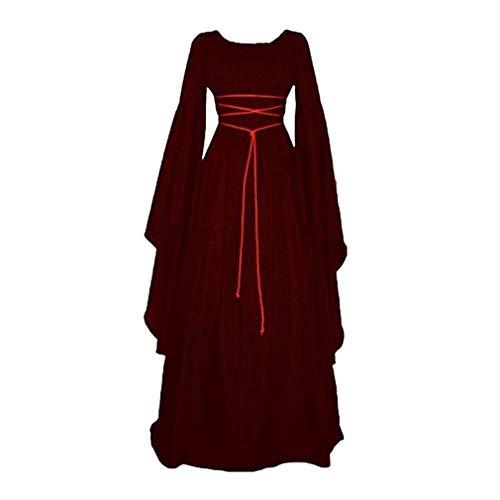 JiXuan Solide Vintage Gothique Victorien Robe De La Médiévale des Femmes Renaissance Maiden Robes Rétro Longue Robe Cosplay Costume pour Halloween