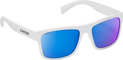 Cressi Unisex- Erwachsene Spike Sunglasses Sport Sonnenbrillen, Weiße/Verspiegelte Linsen Blau, One Size