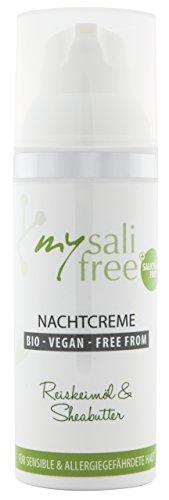 mysalifree BIO NACHTCREME, reichhaltige Feuchtigkeitspflege für sensible Haut mit Reiskeimöl und...