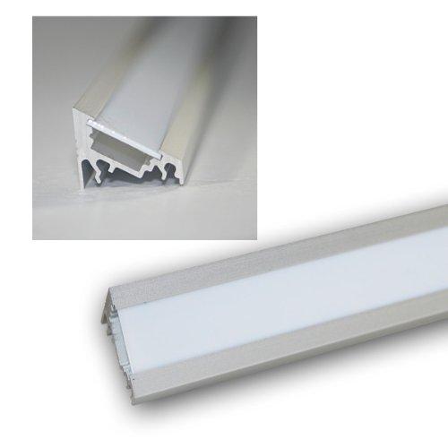 1m LED Winkel-Aluprofil 60° eloxiert Abdeckg weiß