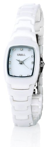Crell nc7315–944–Armbanduhr Damen, Armband aus Keramik Farbe Weiß