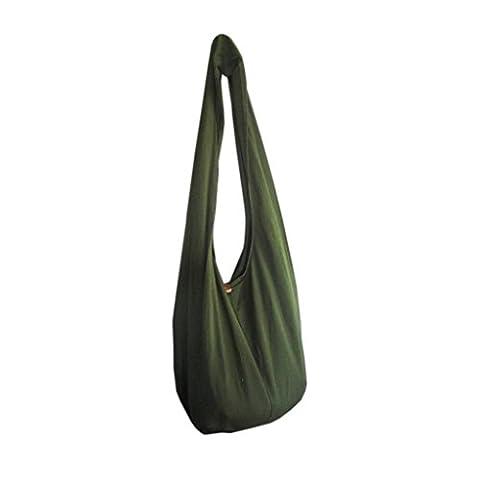 Panasiam sac bandoulière, ici, en 2tailles, plusieurs couleurs & Design, avec poche intérieure, en coton prérétréci résistant, avec double tissage - vert - Vert olive, M