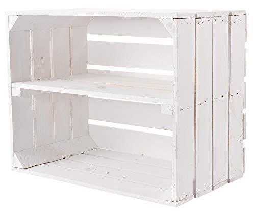 1x Vintage-Möbel 24 Neue weiße/Weisse Holzkiste mit Einlegeboden/Zwischenbrett 50cm x 40cm x 30cm Weinkiste Schuhregal Holzkiste Regal Wandregal Kiste DIY stabil