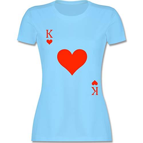 Karneval & Fasching - King Kartenspiel Karneval Kostüm - M - Hellblau - L191 - Damen Tshirt und Frauen T-Shirt -
