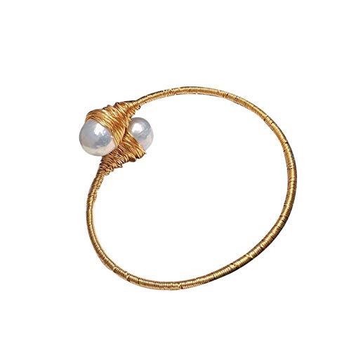 LXIANGP Frauen Armband Retro Licht Luxus 14K Gold Seil Weben 11-12mm Barock Armband, senden Freundin, Frau, Mutter; Geschenkbox (Gold 14k Seil-hand-kette)
