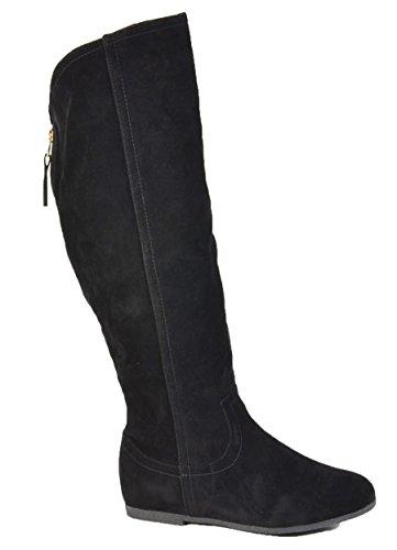 Wadenhohe Damen Keil Stiefel Stiefeletten Keilabsatz Flache Schlupfstiefel Wedges Langschaft 195 (37, Schwarz) (Hohe Keil Stiefel)