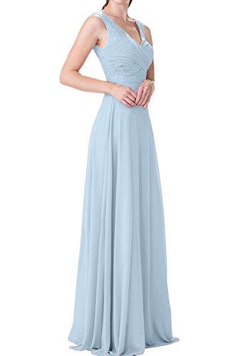 Charmant Damen Burgundy Chiffon langes Abendkleider mit Spitze ballkleider Brautjungfernkleider Abschlussballkleider Himmel Blau